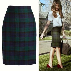 J. Crew No. 2 Pencil Skirt In green tartan plaid 0